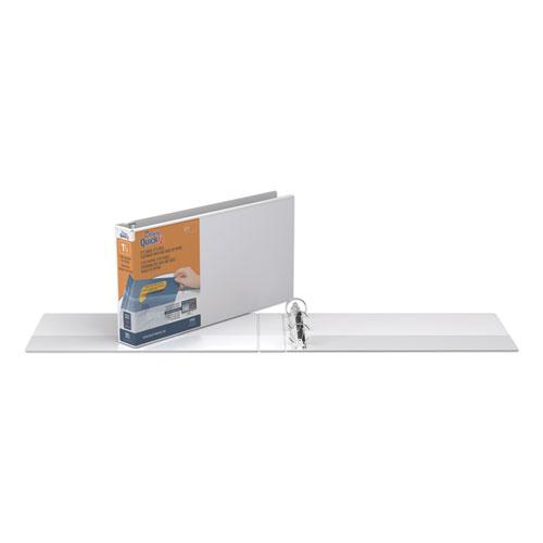 """QuickFit Landscape Spreadsheet Round Ring View Binder, 3 Rings, 1.5"""" Capacity, 14 x 8.5, White. Picture 3"""