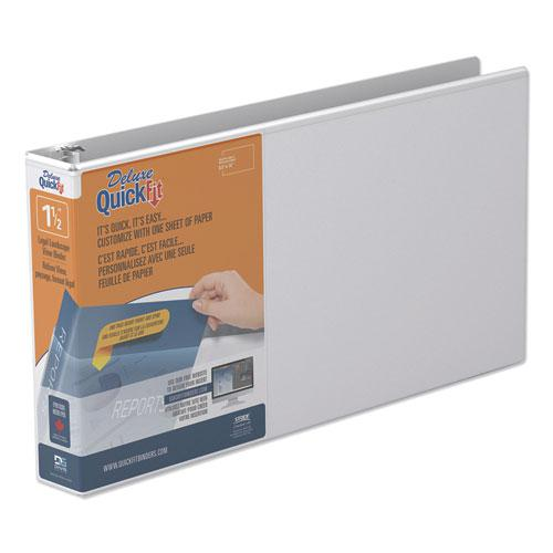 """QuickFit Landscape Spreadsheet Round Ring View Binder, 3 Rings, 1.5"""" Capacity, 14 x 8.5, White. Picture 1"""
