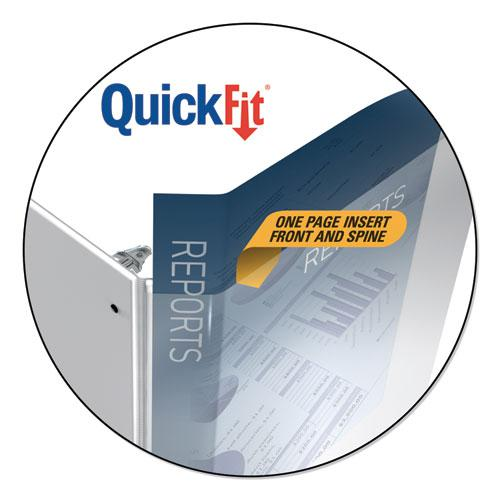 """QuickFit Landscape Spreadsheet Round Ring View Binder, 3 Rings, 1.5"""" Capacity, 14 x 8.5, White. Picture 2"""