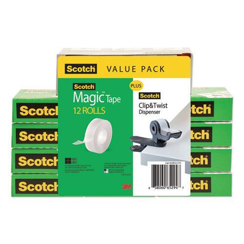 "Clip Dispenser Value Pack, 1"" Core, Charcoal, Plus 12 Tape Rolls 3/4"" x 1000"". Picture 3"