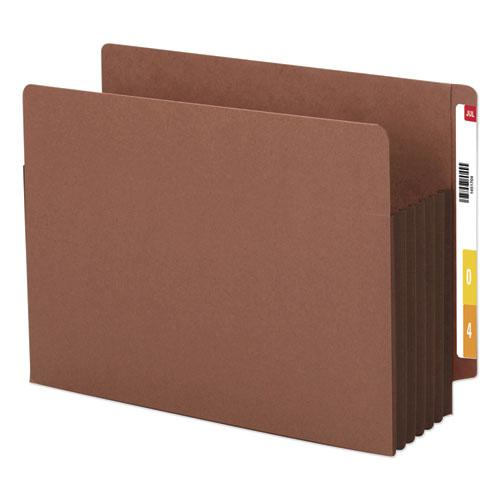 """Redrope Drop-Front End Tab File Pockets w/ Fully Lined Colored Gussets, 5.25"""" Exp, Letter Size, Redrope/Dark Brown, 10/Box. Picture 1"""