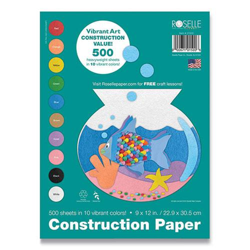 Vibrant Art Heavyweight Construction Paper, 76 lb, 9 x 12, Assorted Colors, 500/Pack. Picture 1