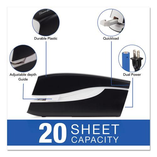 Portable Electric Stapler, 20-Sheet Capacity, Black. Picture 2
