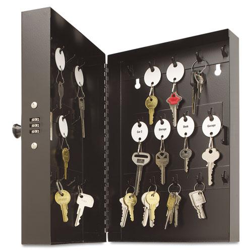 """Hook-Style Key Cabinet, 28-Key, Steel, Black, 7-3/4""""w x  3-1/4""""d x 11-1/2""""h. Picture 1"""