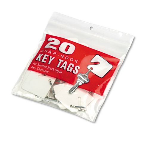 Slotted Rack Key Tags, Plastic, 1 1/2 x 1 1/2, White, 20/Pack. Picture 2