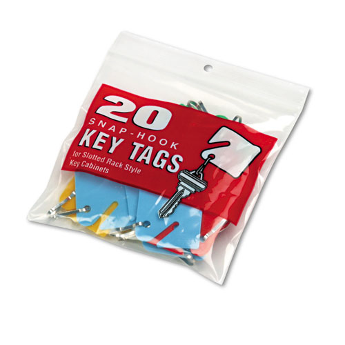 Slotted Rack Key Tags, Plastic, 1 1/2 x 1 1/2, Assorted, 20/Pack. Picture 2