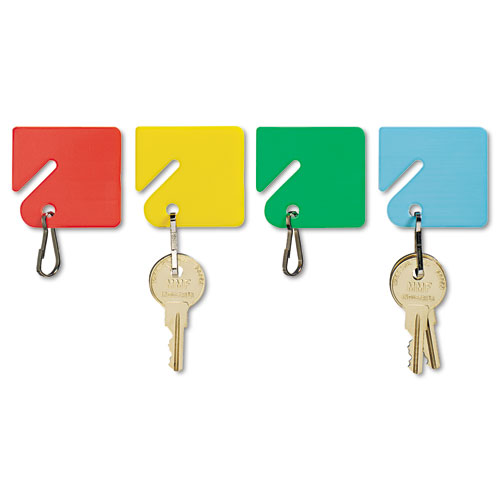 Slotted Rack Key Tags, Plastic, 1 1/2 x 1 1/2, Assorted, 20/Pack. Picture 1