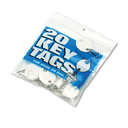 Oval Snap-Hook Key Tags, Plastic, 1 1/8 x 1 1/4, White, 20/Pack. Picture 2