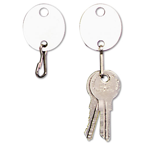 Oval Snap-Hook Key Tags, Plastic, 1 1/8 x 1 1/4, White, 20/Pack. Picture 1