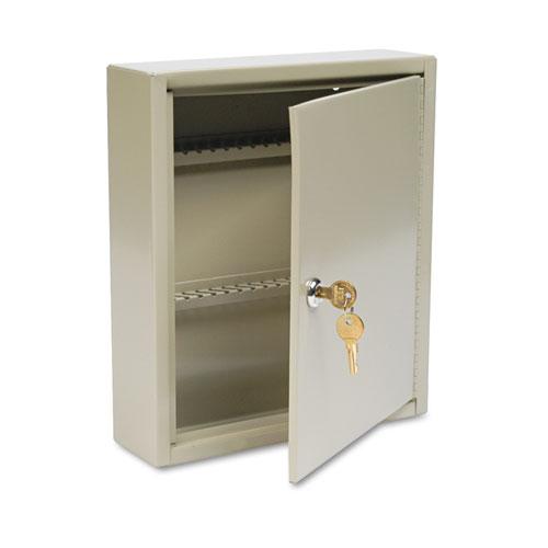 Uni-Tag Key Cabinet, 60-Key, Steel, Sand, 10 5/8 x 3 x 12 1/8. Picture 1