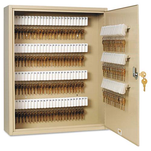 Uni-Tag Key Cabinet, 160-Key, Steel, Sand, 16 1/2 x 4 7/8 x 20 1/8. Picture 1