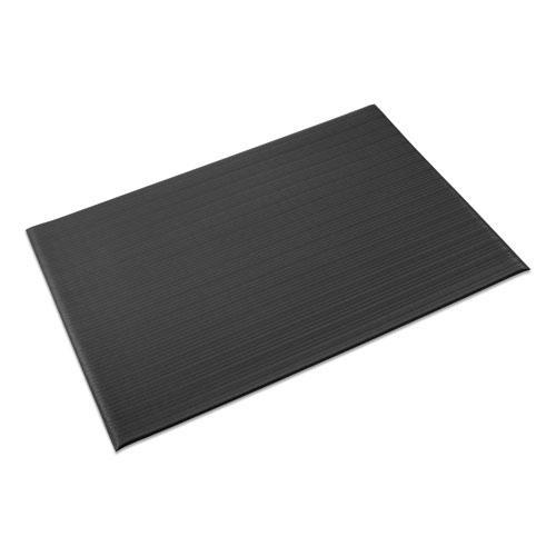 Ribbed Vinyl Anti-Fatigue Mat, 24 x 36, Black. Picture 1