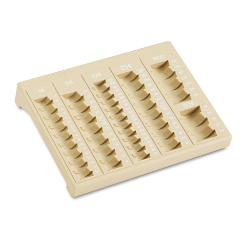 One-Piece Plastic Countex II Coin Tray w/6 Compartments, Sand. Picture 2