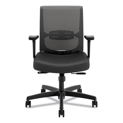 Convergence Mid-Back Task Chair with Syncho-Tilt Control, Supports up to 275 lbs, Black Seat, Black Back, Black Base. Picture 5