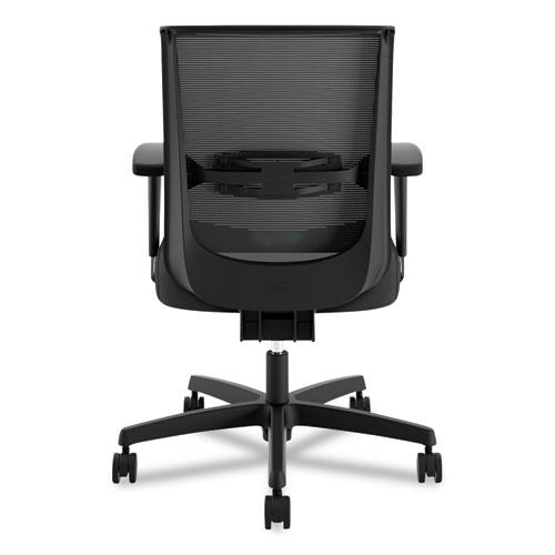 Convergence Mid-Back Task Chair with Syncho-Tilt Control, Supports up to 275 lbs, Black Seat, Black Back, Black Base. Picture 2