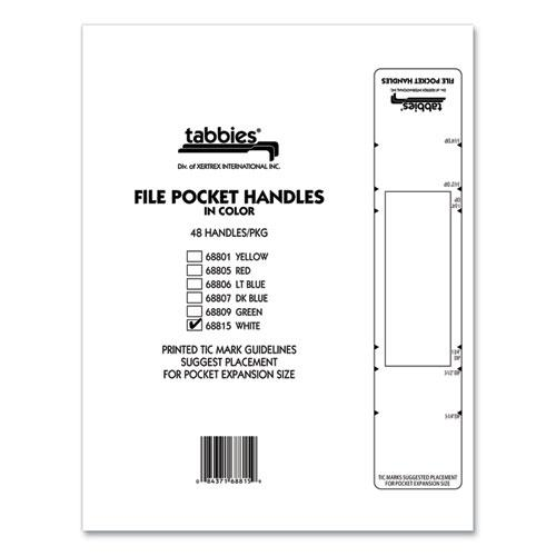 File Pocket Handles, 9.63 x 2, White, 4/Sheet, 12 Sheets/Pack. Picture 8