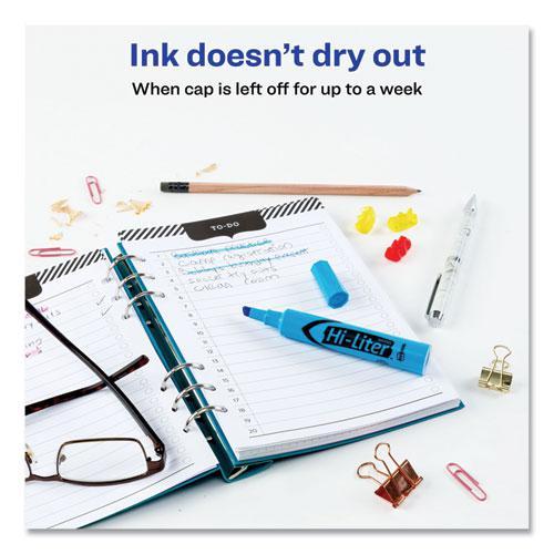 HI-LITER Desk-Style Highlighters, Chisel Tip, Fluorescent Blue, Dozen. Picture 2
