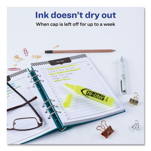 HI-LITER Desk-Style Highlighters, Chisel Tip, Fluorescent Yellow, Dozen. Picture 6