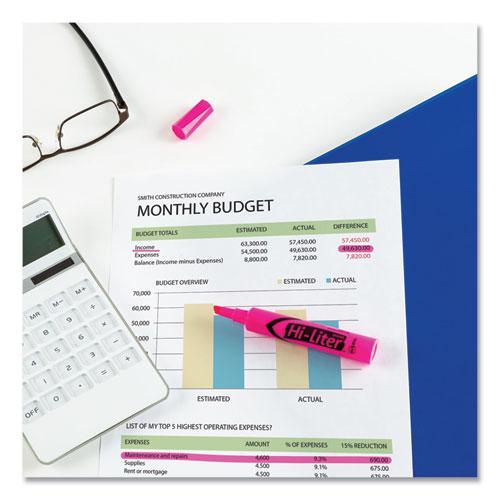 HI-LITER Desk-Style Highlighters, Chisel Tip, Fluorescent Pink, Dozen. Picture 2