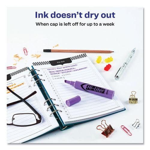 HI-LITER Desk-Style Highlighters, Chisel Tip, Fluorescent Purple, Dozen. Picture 3