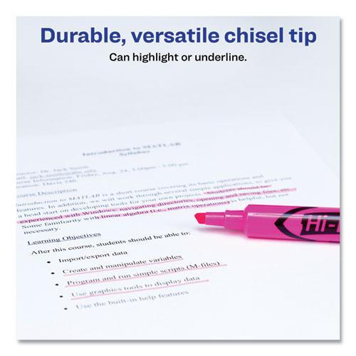 HI-LITER Desk-Style Highlighters, Chisel Tip, Fluorescent Pink, Dozen. Picture 3