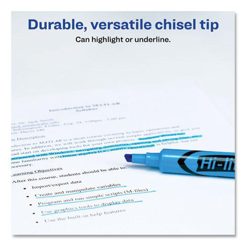 HI-LITER Desk-Style Highlighters, Chisel Tip, Fluorescent Blue, Dozen. Picture 3