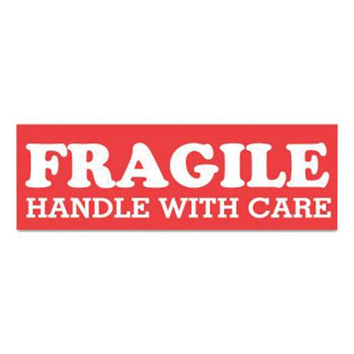 Pre-Printed Message Labels, Fragile Handle with Care, 1.5 x 4, Red/White, 500/Roll. Picture 1