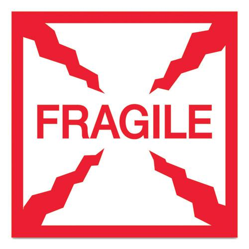Pre-Printed Message Labels, Fragile, 4 x 4, White/Red, 500/Roll. Picture 1
