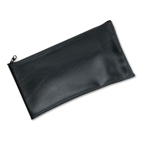 Leatherette Zippered Wallet, Leather-Like Vinyl, 11w x 6h, Black. Picture 1