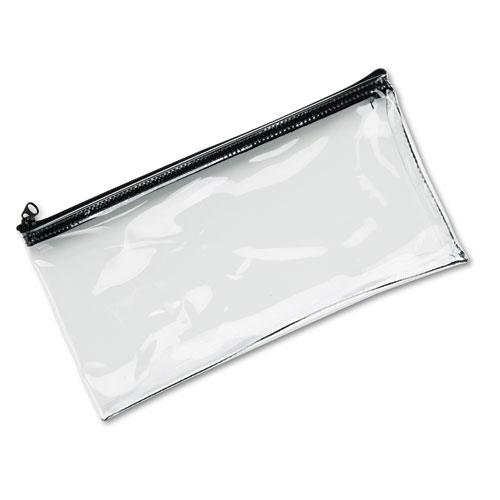 Leatherette Zippered Wallet, Leather-Like Vinyl, 11w x 6h, Clear. Picture 1