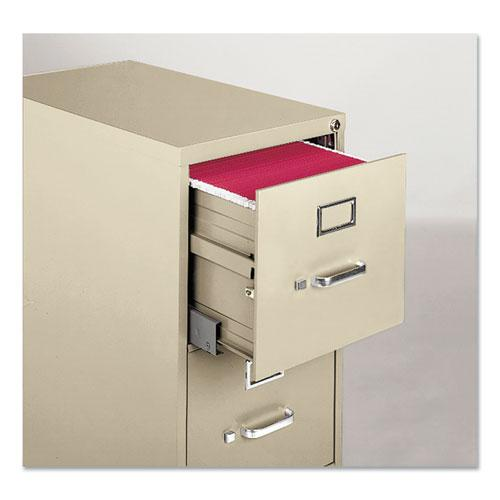 Four-Drawer Economy Vertical File Cabinet, Letter, 15w x 25d x 52h, Putty. Picture 2