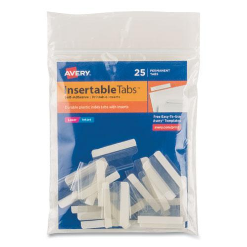 """Insertable Index Tabs with Printable Inserts, 1/5-Cut Tabs, Clear, 1"""" Wide, 25/Pack. Picture 1"""