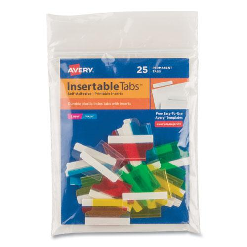 """Insertable Index Tabs with Printable Inserts, 1/5-Cut Tabs, Assorted Colors, 1"""" Wide, 25/Pack. Picture 1"""