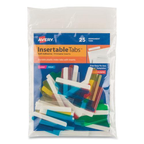 """Insertable Index Tabs with Printable Inserts, 1/5-Cut Tabs, Assorted Colors, 1.5"""" Wide, 25/Pack. Picture 1"""