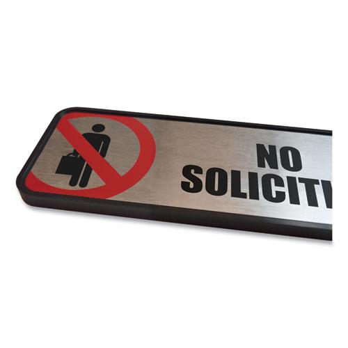 Brushed Metal Office Sign, No Soliciting, 9 x 3, Silver/Red. Picture 5
