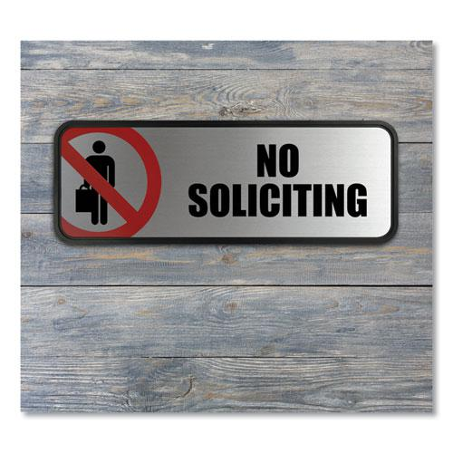 Brushed Metal Office Sign, No Soliciting, 9 x 3, Silver/Red. Picture 2