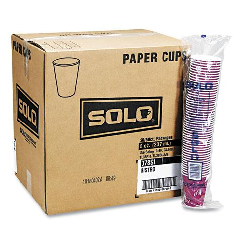 Solo Bistro Design Hot Drink Cups, Paper, 10oz, 1000/Carton. Picture 4