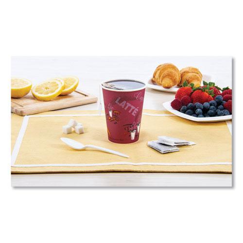 Solo Bistro Design Hot Drink Cups, Paper, 12oz, Maroon, 50/Bag, 20 Bags/Carton. Picture 4
