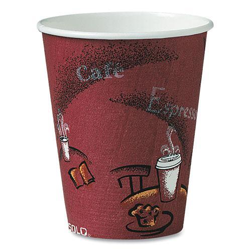 Solo Bistro Design Hot Drink Cups, Paper, 8oz, Maroon, 50/Bag, 20 Bags/Carton. Picture 1