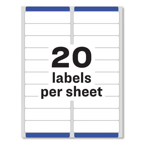 Easy Peel White Address Labels w/ Sure Feed Technology, Laser Printers, 1 x 4, White, 20/Sheet, 250 Sheets/Box. Picture 2