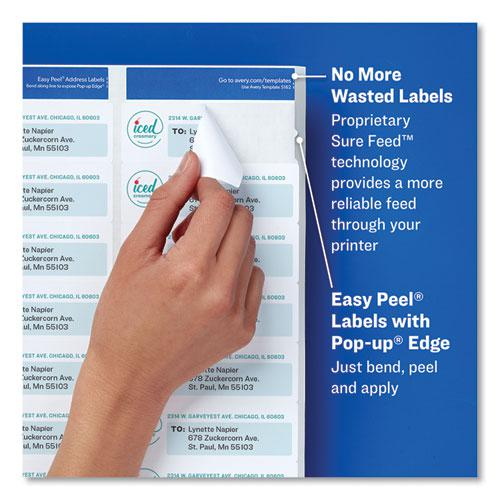 Easy Peel White Address Labels w/ Sure Feed Technology, Laser Printers, 1 x 4, White, 20/Sheet, 250 Sheets/Box. Picture 6