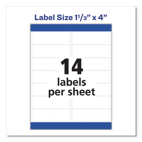 Easy Peel White Address Labels w/ Sure Feed Technology, Laser Printers, 1.33 x 4, White, 14/Sheet, 25 Sheets/Pack. Picture 2