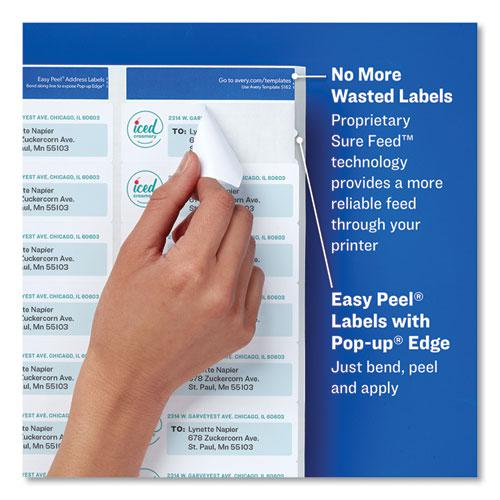 Easy Peel White Address Labels w/ Sure Feed Technology, Laser Printers, 1.33 x 4, White, 14/Sheet, 25 Sheets/Pack. Picture 6