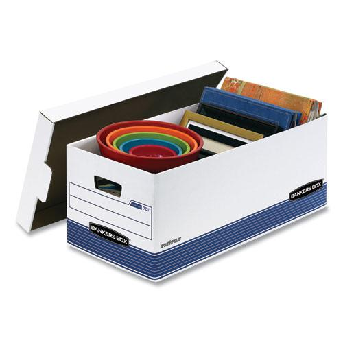 "STOR/FILE Medium-Duty Storage Boxes, Letter Files, 12.88"" x 25.38"" x 10.25"", White/Blue, 12/Carton. Picture 4"