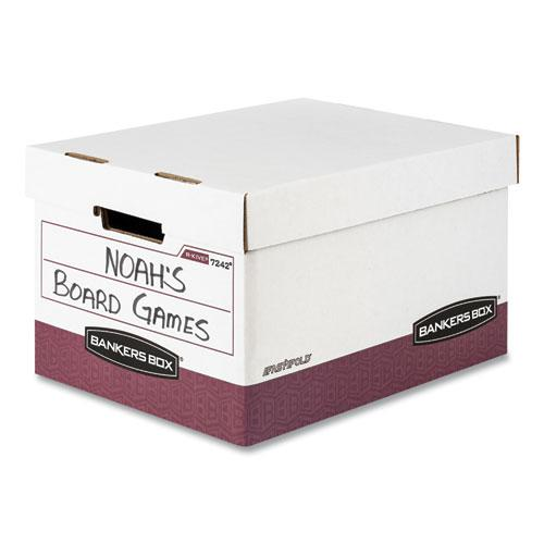 """R-KIVE Heavy-Duty Storage Boxes, Letter/Legal Files, 12.75"""" x 16.5"""" x 10.38"""", White/Red, 12/Carton. Picture 6"""