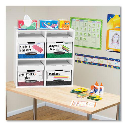 """R-KIVE Heavy-Duty Storage Boxes, Letter/Legal Files, 12.75"""" x 16.5"""" x 10.38"""", White/Red, 12/Carton. Picture 3"""