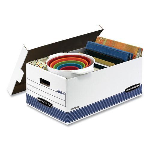 "STOR/FILE Medium-Duty Storage Boxes, Legal Files, 15.88"" x 25.38"" x 10.25"", White/Blue, 12/Carton. Picture 4"