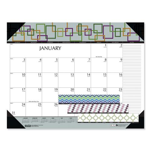 100% Recycled Geometric Desk Pad Calendar, 22 x 17, 2021. Picture 1
