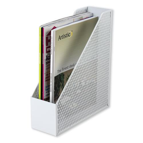 Urban Collection Punched Metal Magazine File, 3 1/2 x 10 x 11 1/2, White. Picture 1