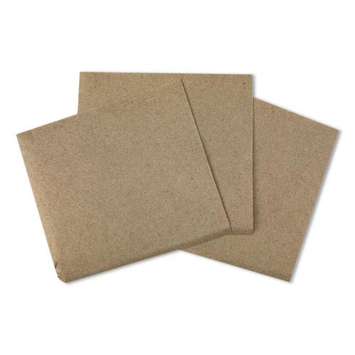 "Beverage Napkins, 1-Ply, 9.5"" x 9.5"", Kraft, 500/Pack, 8 Packs/Carton. Picture 1"